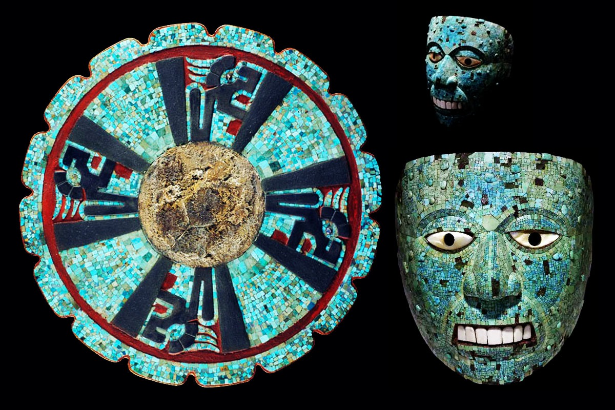 voladores - mosaic of turquoise located in Chichen Itza